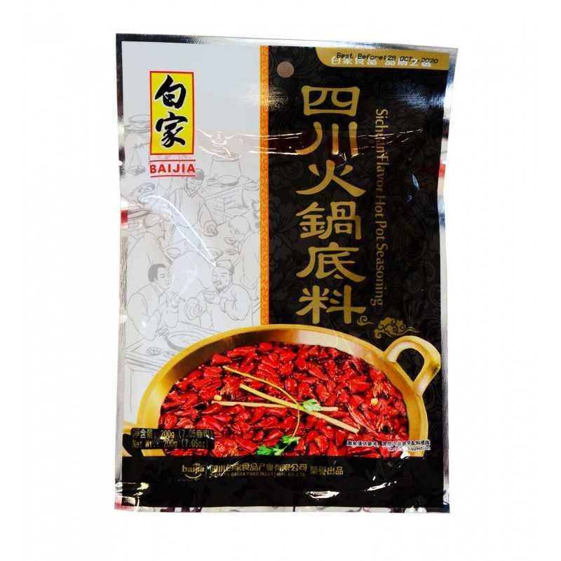 Épices pour fondue Chinoise saveur Sichuan - Baijia 200g