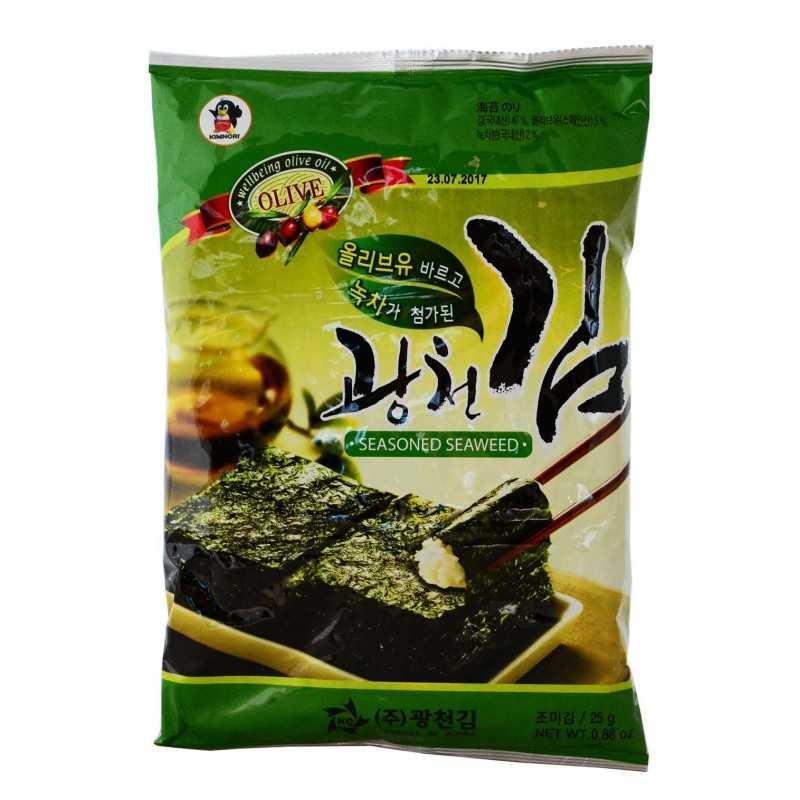 Kim assaisonné à l'huile d'olive et thé vert - 25g (6pièces)