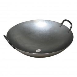 "WOK métal fond plat deux poignées- diamètre  33cm - 13"""