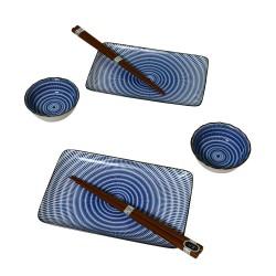 Set à Sushi deux personne - design cercle bleu