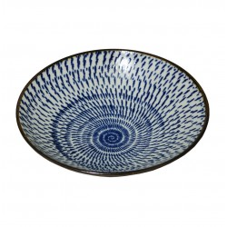 Bol Japonais design fleur bleu - Diamètre 24.5 cm