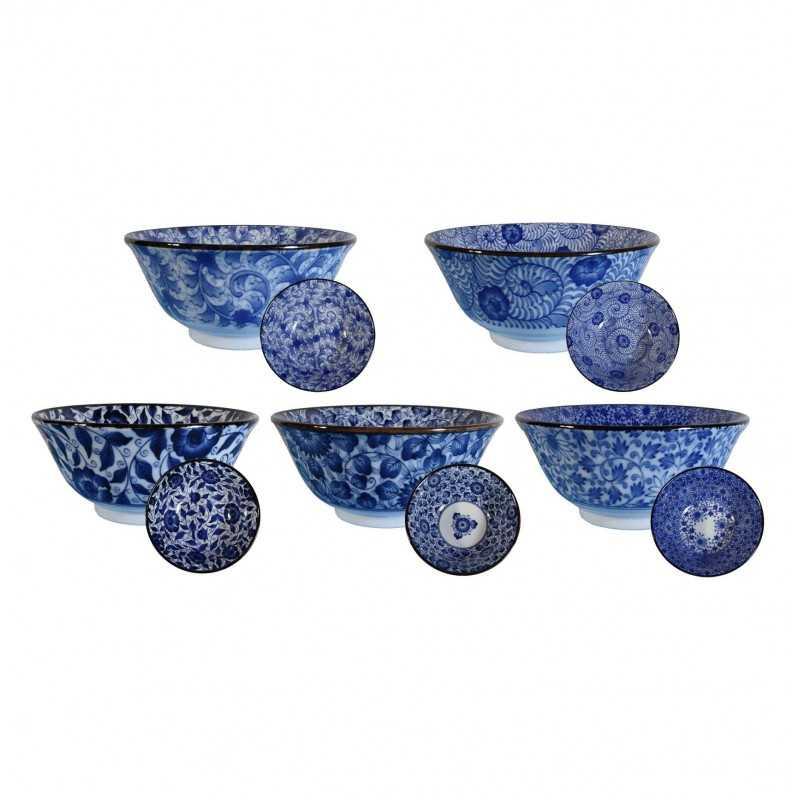 Set de 5 bols Japonais design bleu - diamètre 15cm