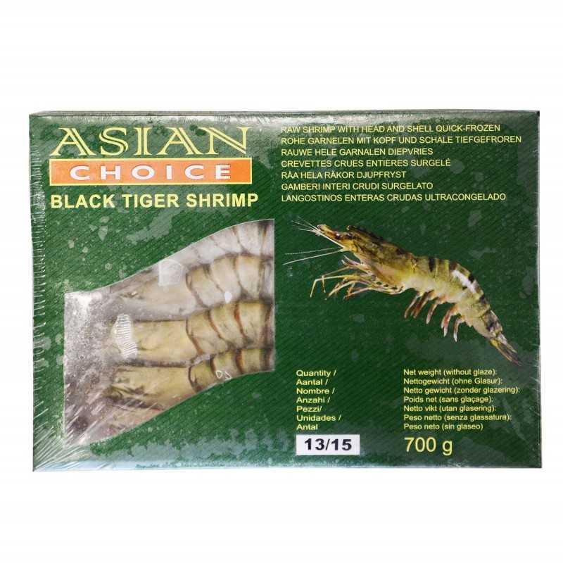 Crevette black tiger entières cru surgelé -13/15 700g