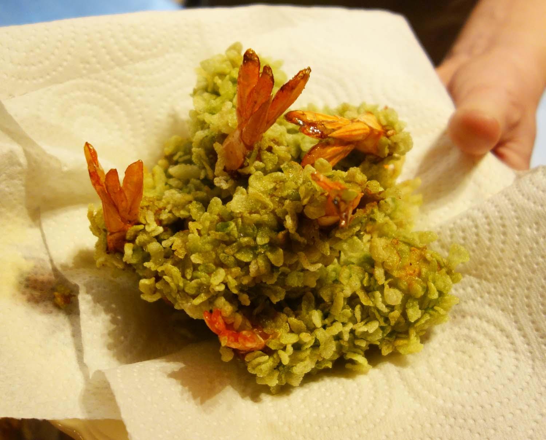 Beignets de crevettes au riz vert