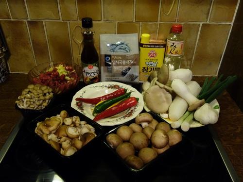 Liste d'ingrédients pour le beoseot jeongol