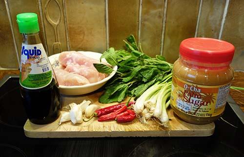 ingrédient pour poulet thaï au basilic